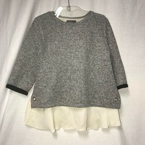 Anthropologie THML Womens Gray Tweed Top  Large